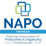 Nat'l Association of Productivity and Organizing Professionals logo as NAPO member with 4 squares connected like a rose in dark blue, light blue, gray, and lime green