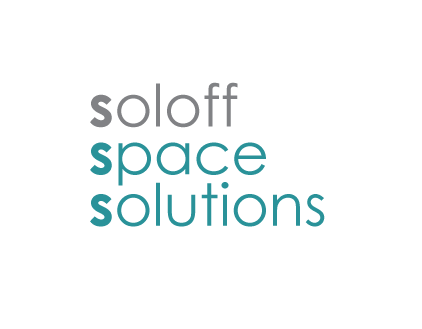 Soloff Space Solutions logo in grey and blue green