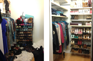 underutilized walk-in closet space on the left. The right photo is after Elfa installation and eveyrthing in place from hanging clothes to shoes on rack and shirts on top shelves