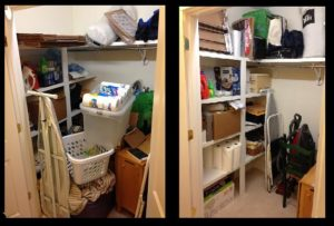 Left photo in a storage closet with stuff thrown in. One the right is aftermath with all items having a home and maximized the top shelf space to ceiling and still see everything
